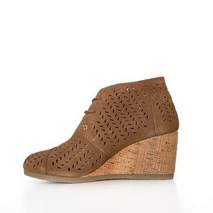 Toms Perforated Ankle Wedge Boots Booties 8